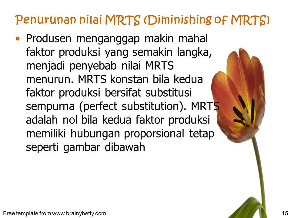 Penurunan nilai MRTS (Diminishing of MRTS) Produsen menganggap makin mahal faktor produksi yang semakin langka, menjadi penyebab nilai MRTS menurun. M