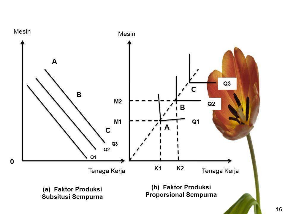 16 Q1 Q2 Q3 Mesin Tenaga Kerja 0 A B C Mesin Tenaga Kerja M2 M1 K1K2 C B A Q1 Q2 Q3 (a) Faktor Produksi Subsitusi Sempurna (b) Faktor Produksi Propors