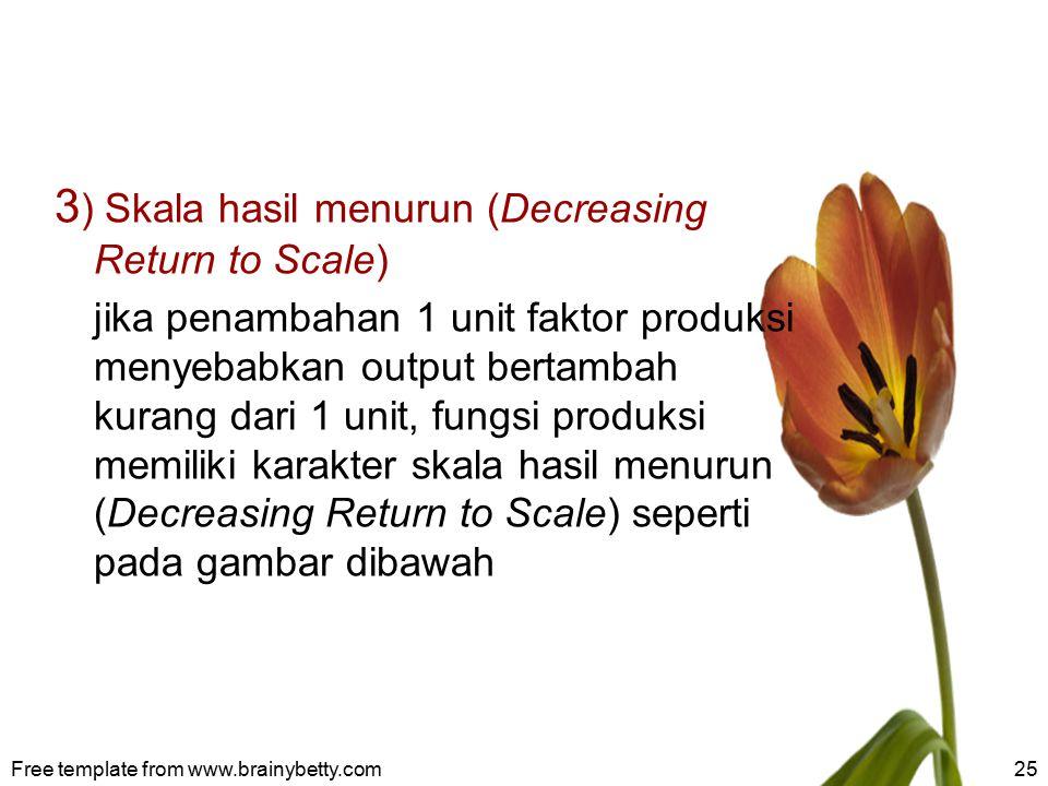 3 ) Skala hasil menurun (Decreasing Return to Scale) jika penambahan 1 unit faktor produksi menyebabkan output bertambah kurang dari 1 unit, fungsi pr