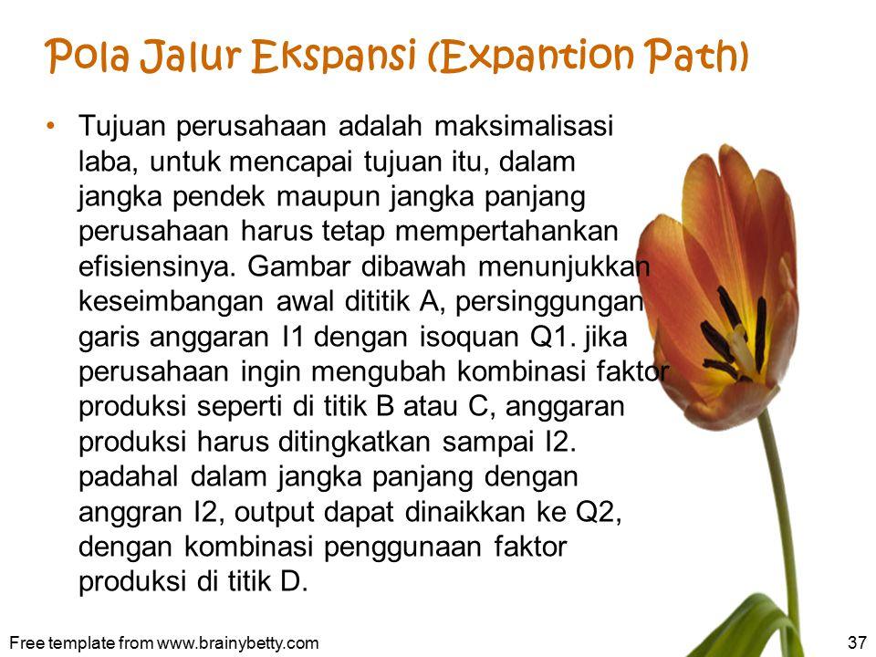 Pola Jalur Ekspansi (Expantion Path) Tujuan perusahaan adalah maksimalisasi laba, untuk mencapai tujuan itu, dalam jangka pendek maupun jangka panjang