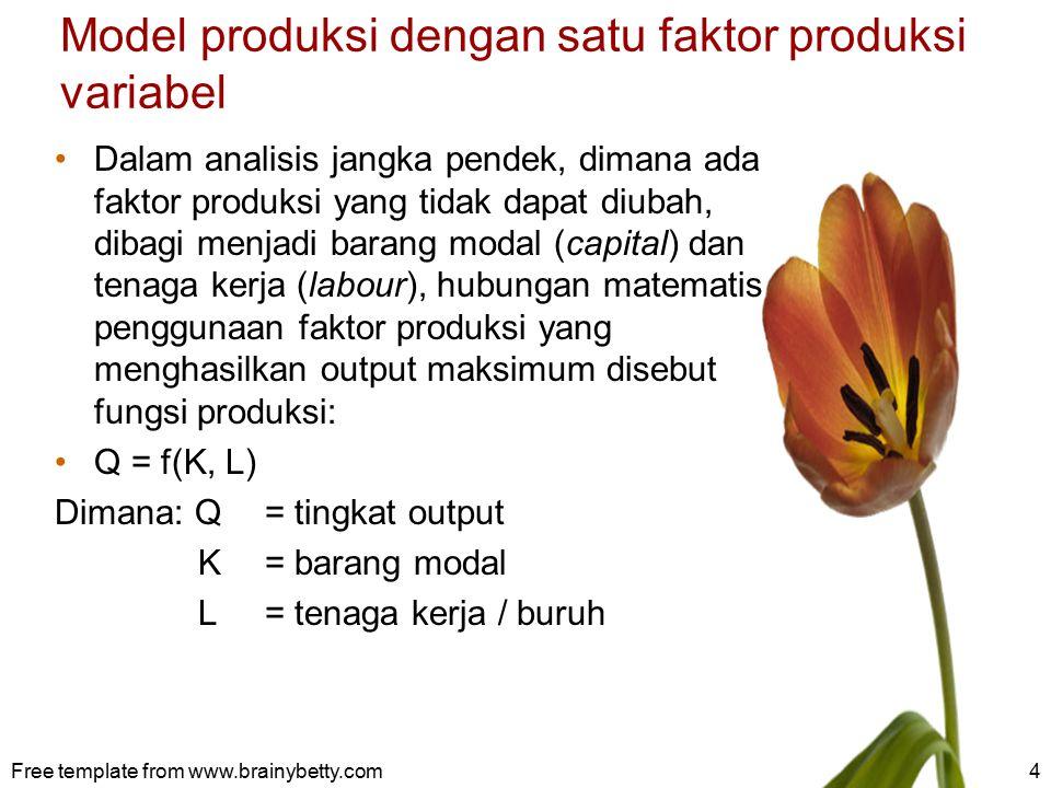 5 Produksi total (total product) adalah banyaknya produksi yang dihasilkan dari penggunaan total faktor produksi TP = f(K, L) TP akan maksimum pada saat MP sama dengan nol MP = TP' Ձ TP/ Ձ L Perusahaan dapat terus menambah tenaga kerja selama MP > 0.