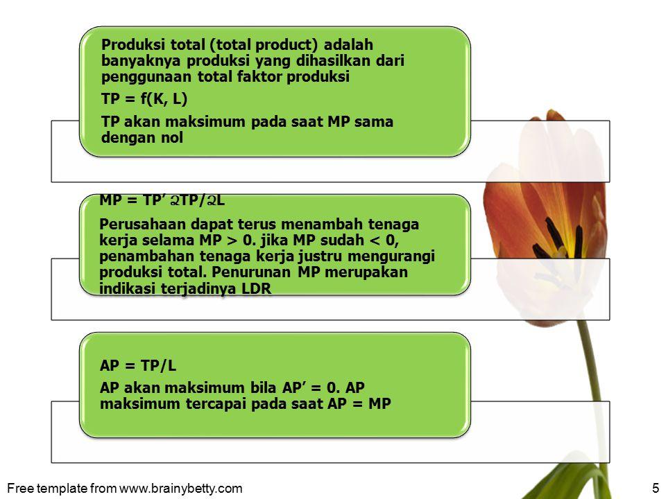 5 Produksi total (total product) adalah banyaknya produksi yang dihasilkan dari penggunaan total faktor produksi TP = f(K, L) TP akan maksimum pada sa
