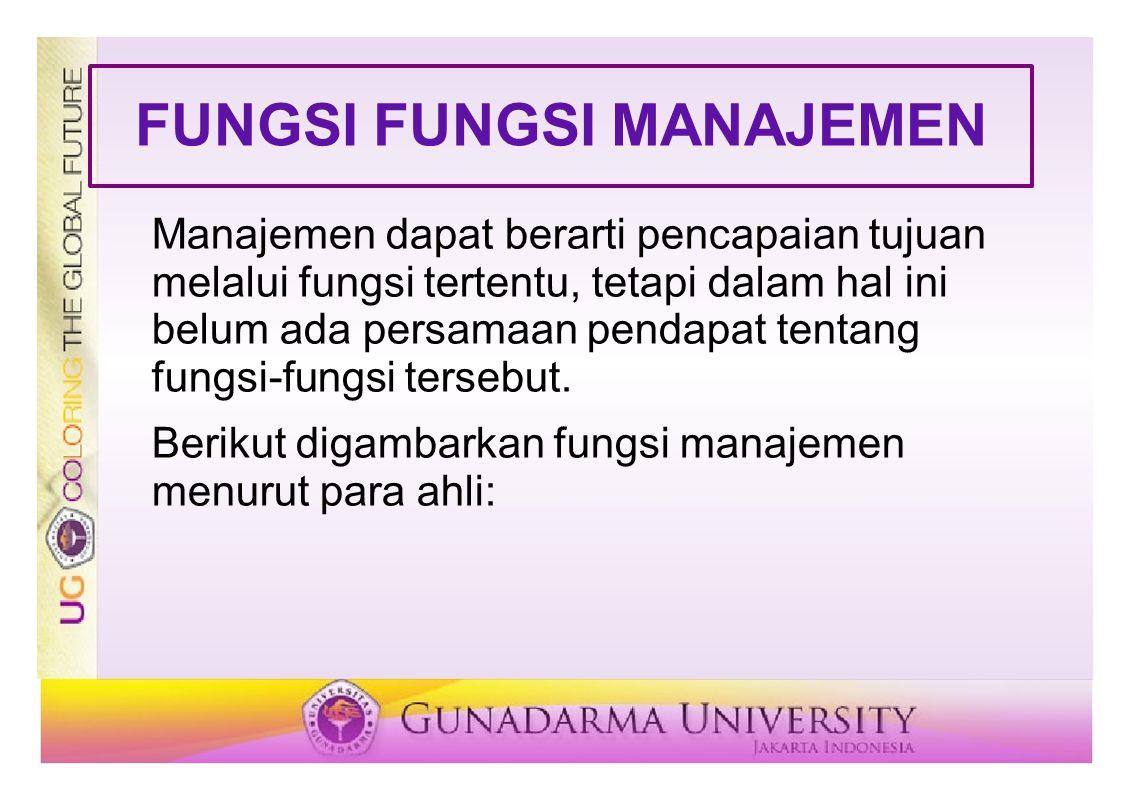 FUNGSI FUNGSI MANAJEMEN Manajemen dapat berarti pencapaian tujuan melalui fungsi tertentu, tetapi dalam hal ini belum ada persamaan pendapat tentang fungsi-fungsi tersebut.