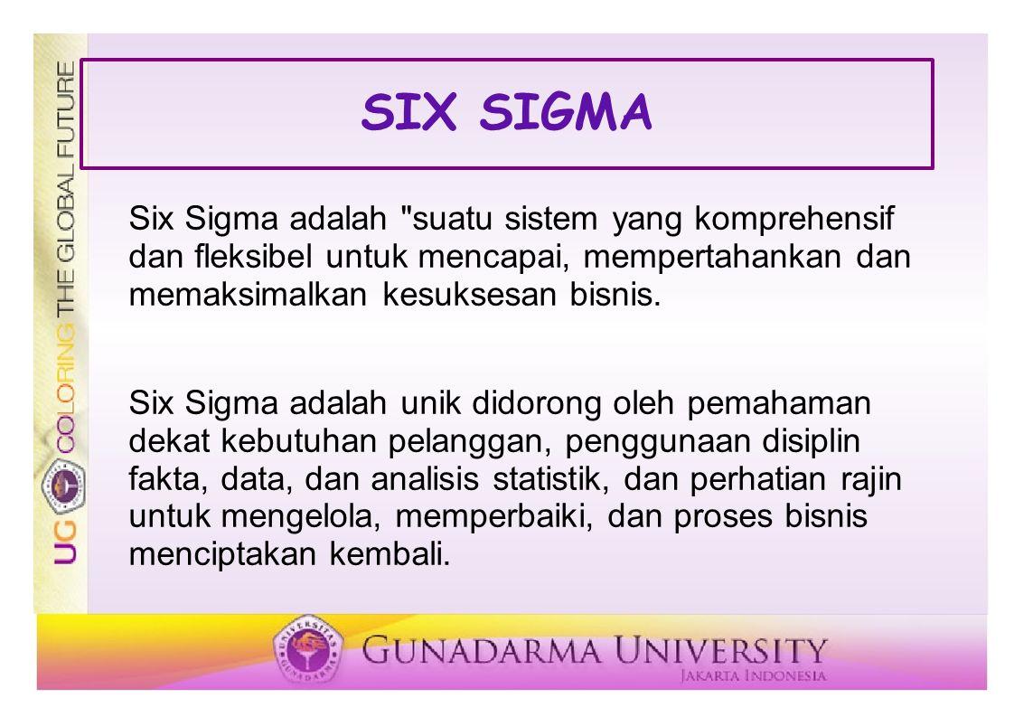 SIX SIGMA Six Sigma adalah suatu sistem yang komprehensif dan fleksibel untuk mencapai, mempertahankan dan memaksimalkan kesuksesan bisnis.