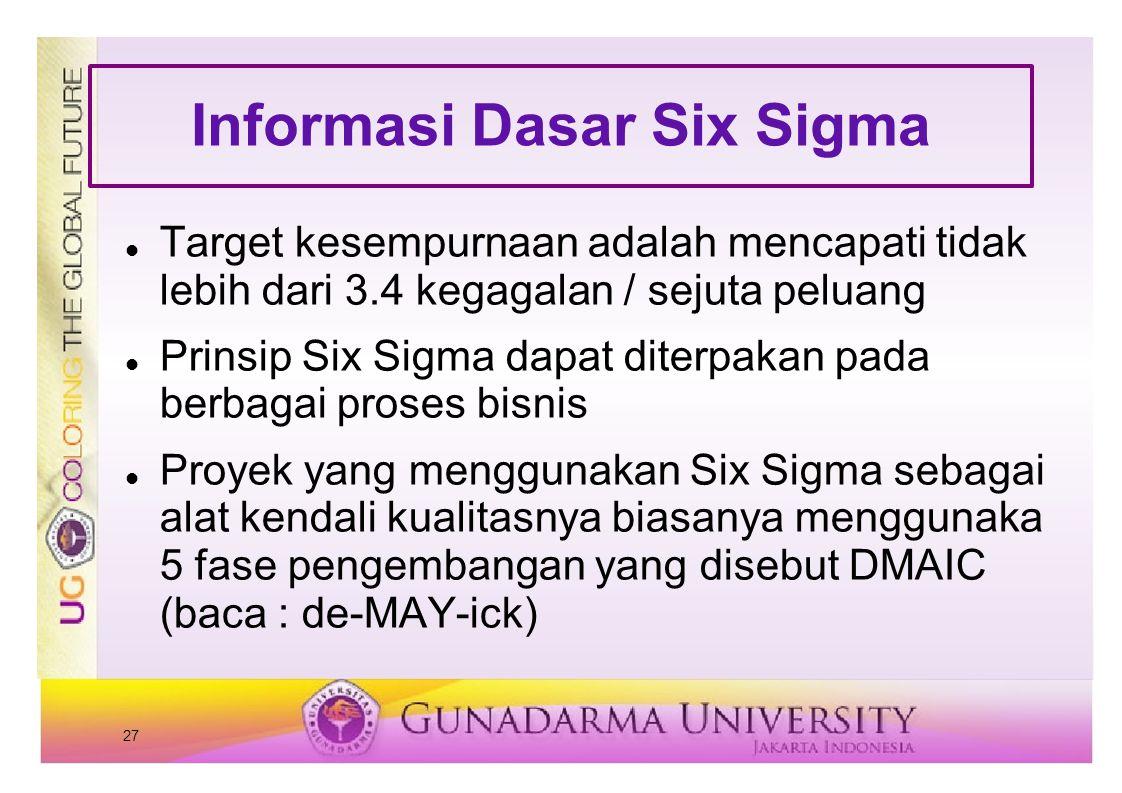 27 Informasi Dasar Six Sigma Target kesempurnaan adalah mencapati tidak lebih dari 3.4 kegagalan / sejuta peluang Prinsip Six Sigma dapat diterpakan pada berbagai proses bisnis Proyek yang menggunakan Six Sigma sebagai alat kendali kualitasnya biasanya menggunaka 5 fase pengembangan yang disebut DMAIC (baca : de-MAY-ick)