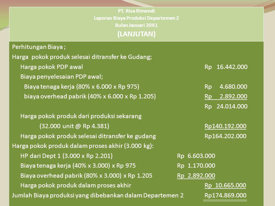 Perhitungan Biaya ; Harga pokok produk selesai ditransfer ke Gudang; Harga pokok PDP awalRp 16.442.000 Biaya penyelesaian PDP awal; Biaya tenaga kerja