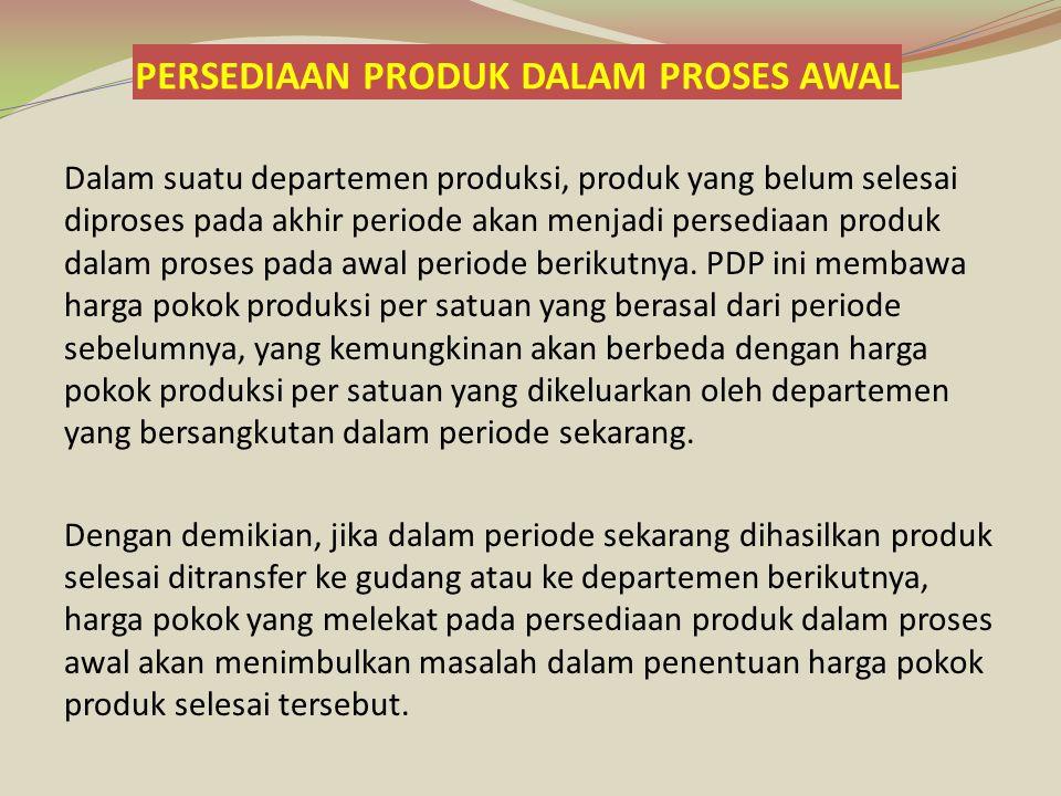 Perhitungan Biaya ; Harga pokok produk selesai ditransfer ke Dept 2; Harga pokok PDP awalRp 4.920.000 Biaya penyelesaian PDP awal; Biaya tenaga kerja (60% x 4.000 x Rp 750)Rp 1.800.000 biaya overhead pabrik (60% x 4.000 x Rp 940)Rp 2.256.000 Rp 8.976.000 Harga pokok produk dari produksi sekarang (31.000 unit @ Rp 2.195)Rp 68.045.000 Harga pokok produk selesai ditransfer ke Dept 2Rp 77.019.000 Harga pokok produk dalam proses akhir (9.000 kg): Biaya bahan baku (100% x 9.000) x Rp 505Rp 4.545.000 Biaya tenaga kerja (70% x 9.000) x Rp 750Rp 4.725.000 Biaya overhead pabrik (70% x 9.000) x Rp 940Rp 5.922.000 Harga pokok produk dalam proses akhirRp 15.192.000 Jumlah Biaya produksi yang dibebankan dalam Departemen 1Rp 92.210.000 PT.