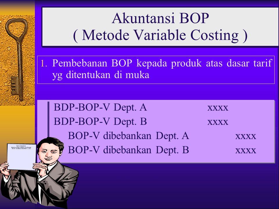 1. Pembebanan BOP kepada produk atas dasar tarif yg ditentukan di muka Akuntansi BOP ( Metode Variable Costing ) BDP-BOP-V Dept. Axxxx BDP-BOP-V Dept.