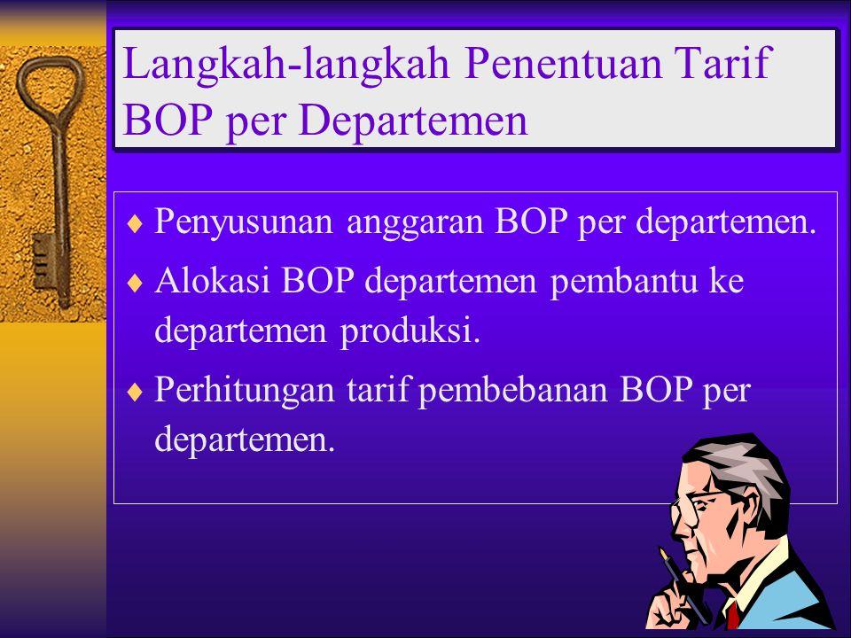  Penyusunan anggaran BOP per departemen.  Alokasi BOP departemen pembantu ke departemen produksi.  Perhitungan tarif pembebanan BOP per departemen.