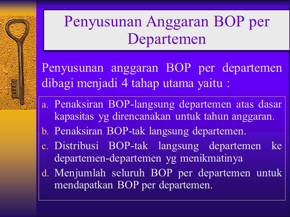 Penyusunan anggaran BOP per departemen dibagi menjadi 4 tahap utama yaitu : Penyusunan Anggaran BOP per Departemen a. Penaksiran BOP-langsung departem