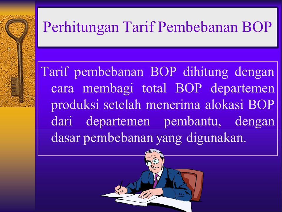 Tarif pembebanan BOP dihitung dengan cara membagi total BOP departemen produksi setelah menerima alokasi BOP dari departemen pembantu, dengan dasar pembebanan yang digunakan.