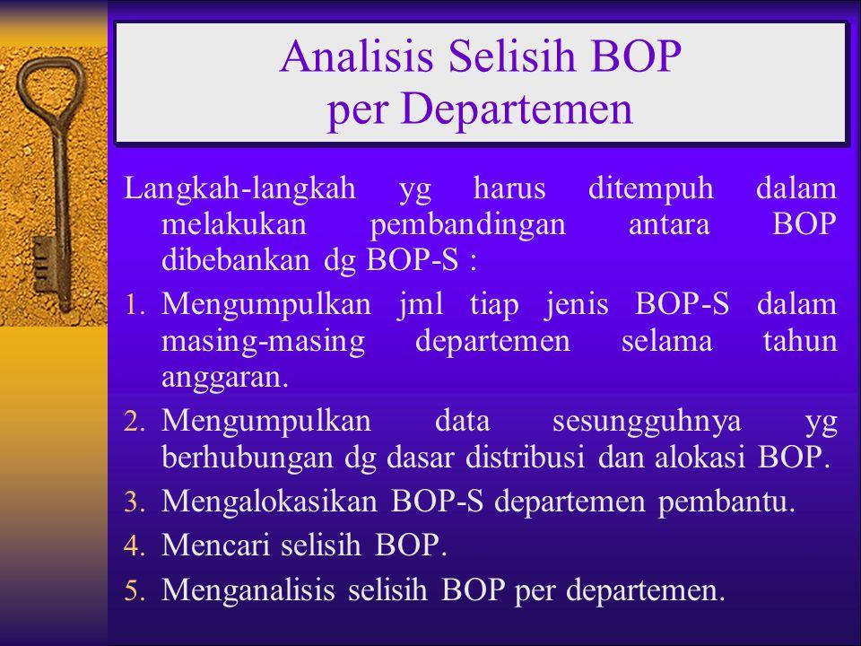 Langkah-langkah yg harus ditempuh dalam melakukan pembandingan antara BOP dibebankan dg BOP-S : 1. Mengumpulkan jml tiap jenis BOP-S dalam masing-masi
