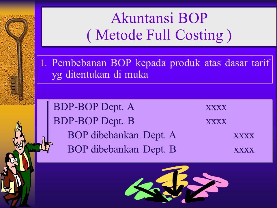 1. Pembebanan BOP kepada produk atas dasar tarif yg ditentukan di muka Akuntansi BOP ( Metode Full Costing ) BDP-BOP Dept. Axxxx BDP-BOP Dept. Bxxxx B