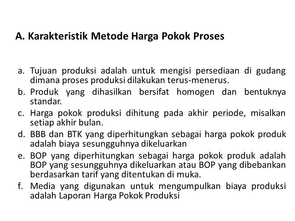 A. Karakteristik Metode Harga Pokok Proses a.Tujuan produksi adalah untuk mengisi persediaan di gudang dimana proses produksi dilakukan terus-menerus.