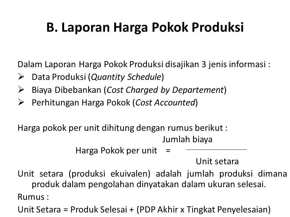 B. Laporan Harga Pokok Produksi Dalam Laporan Harga Pokok Produksi disajikan 3 jenis informasi :  Data Produksi (Quantity Schedule)  Biaya Dibebanka
