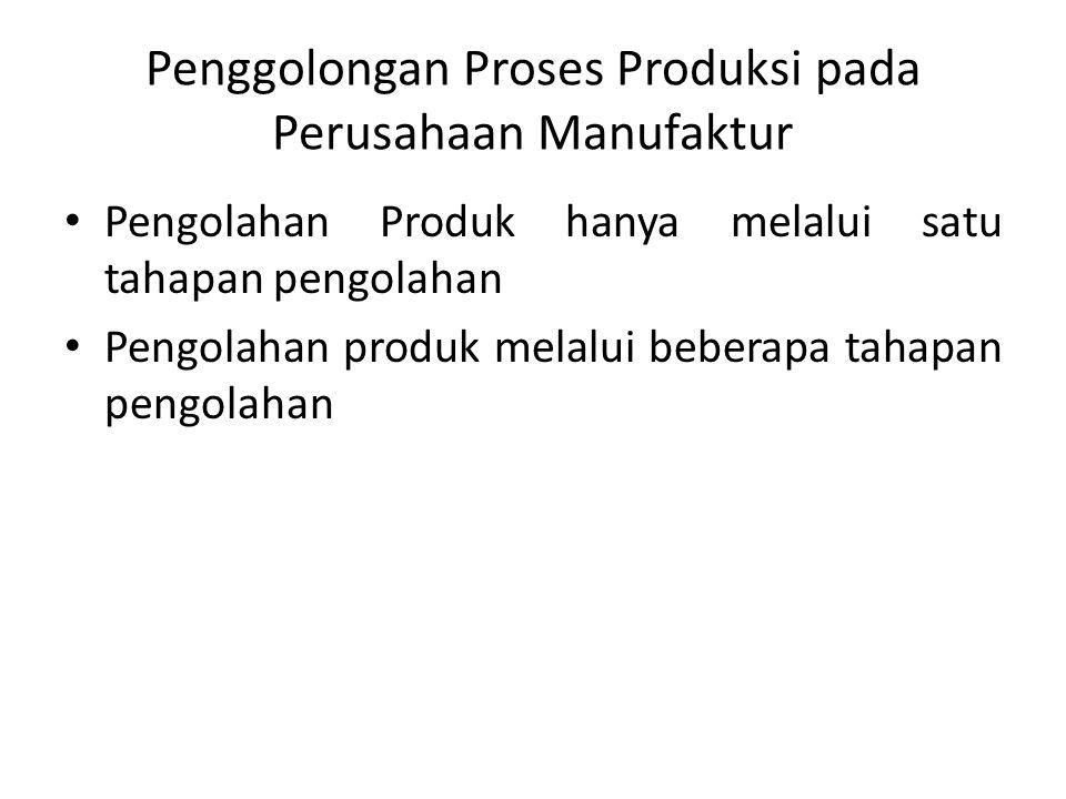 Penggolongan Proses Produksi pada Perusahaan Manufaktur Pengolahan Produk hanya melalui satu tahapan pengolahan Pengolahan produk melalui beberapa tahapan pengolahan