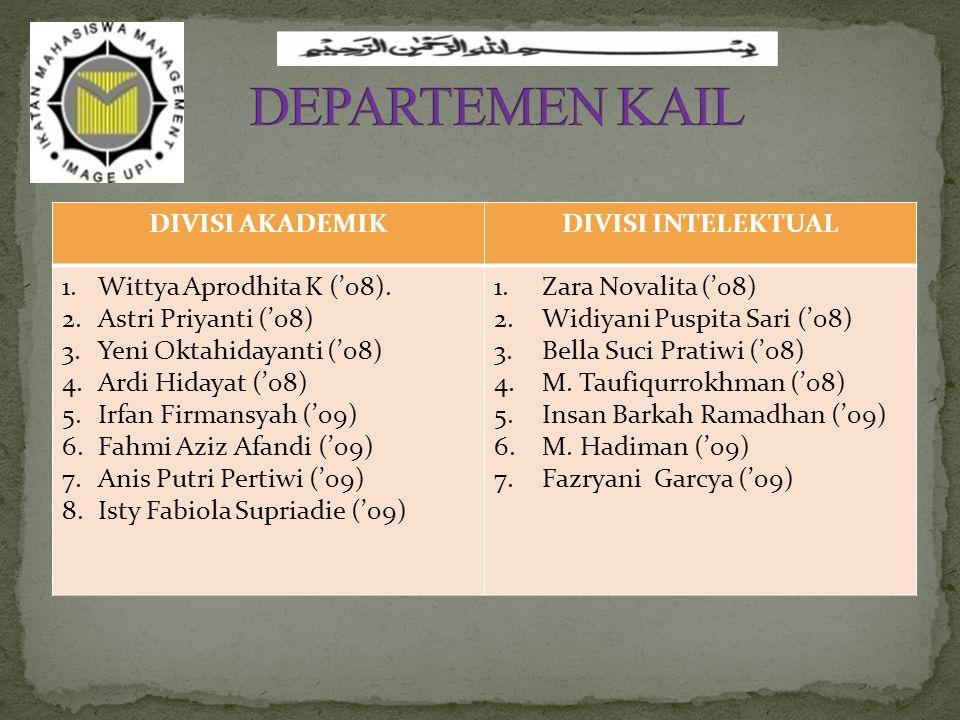 DIVISI AKADEMIKDIVISI INTELEKTUAL 1.Wittya Aprodhita K ('08).