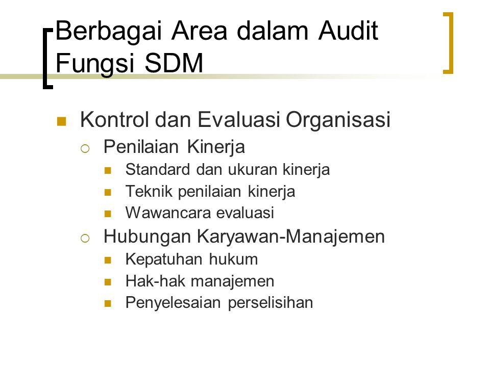Berbagai Area dalam Audit Fungsi SDM Kontrol dan Evaluasi Organisasi  Penilaian Kinerja Standard dan ukuran kinerja Teknik penilaian kinerja Wawancar