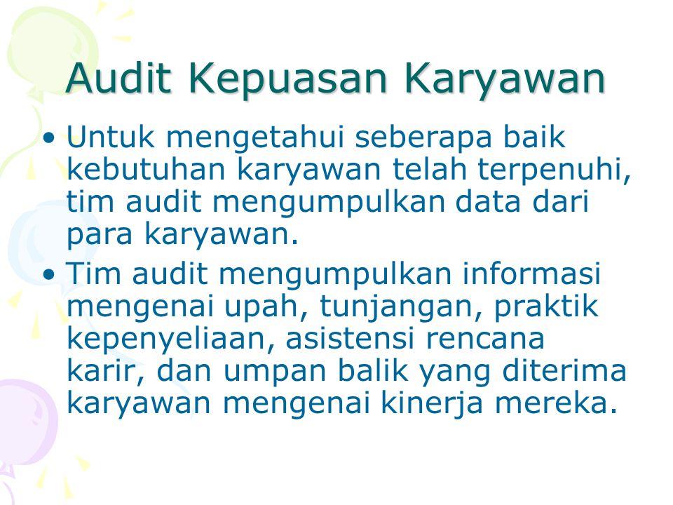 Audit Kepuasan Karyawan Untuk mengetahui seberapa baik kebutuhan karyawan telah terpenuhi, tim audit mengumpulkan data dari para karyawan. Tim audit m