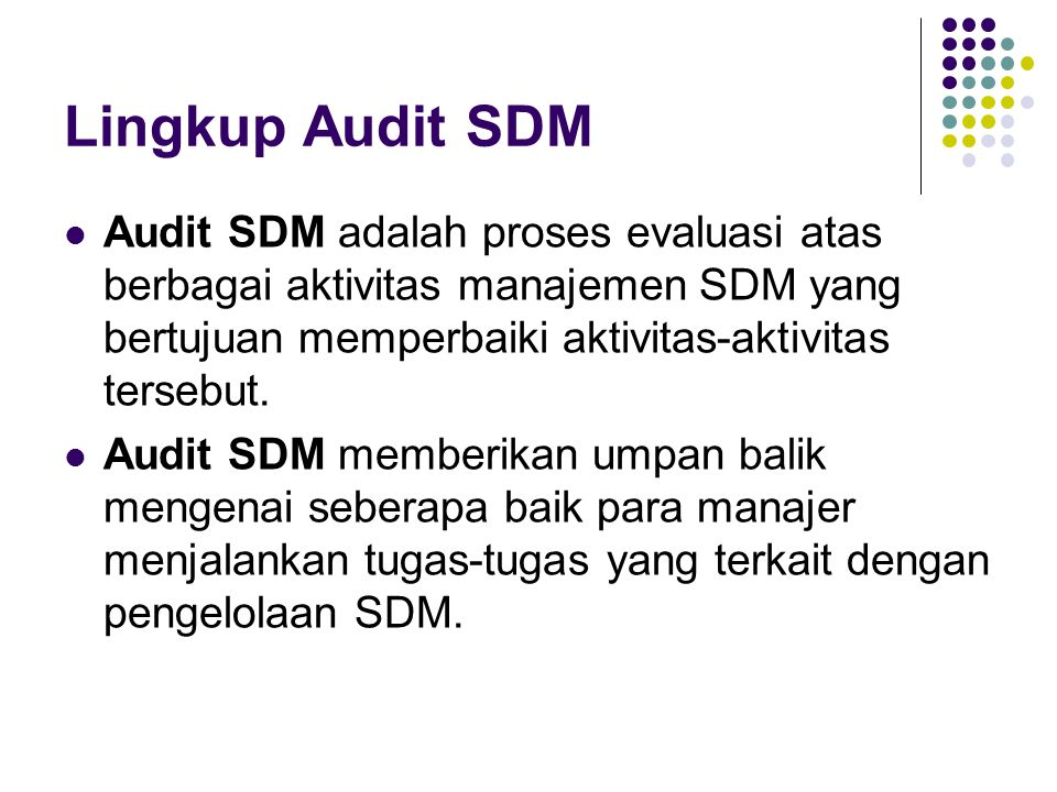 Lingkup Audit SDM Audit SDM adalah proses evaluasi atas berbagai aktivitas manajemen SDM yang bertujuan memperbaiki aktivitas-aktivitas tersebut. Audi