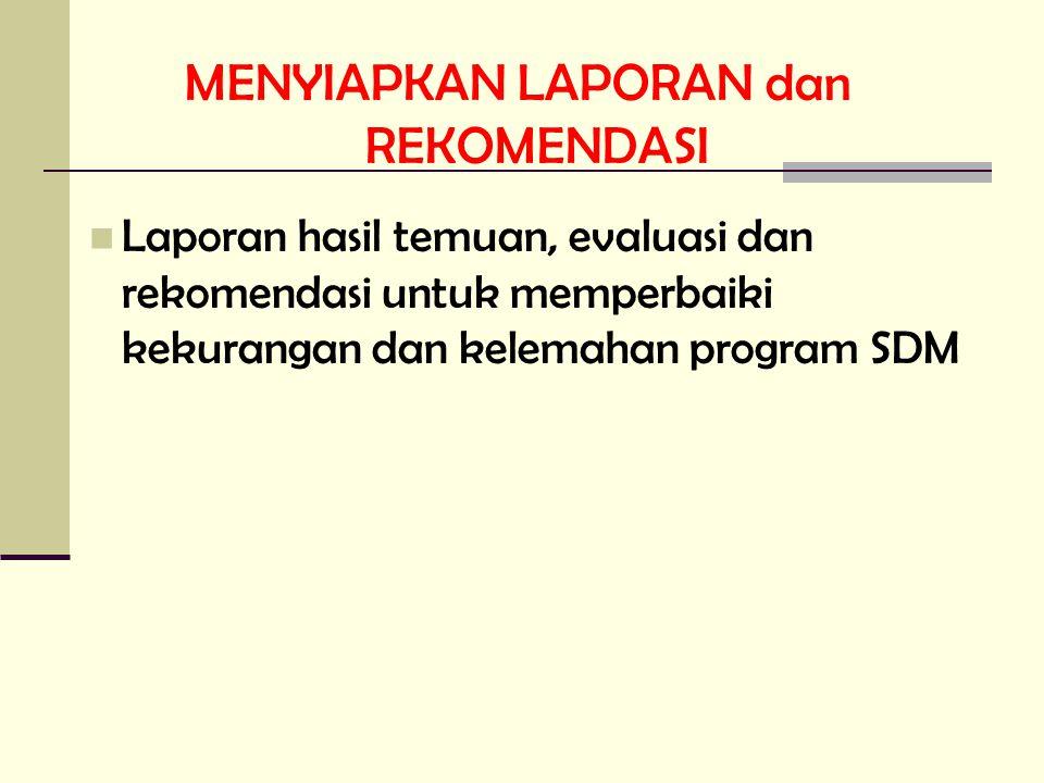 MENYIAPKAN LAPORAN dan REKOMENDASI Laporan hasil temuan, evaluasi dan rekomendasi untuk memperbaiki kekurangan dan kelemahan program SDM