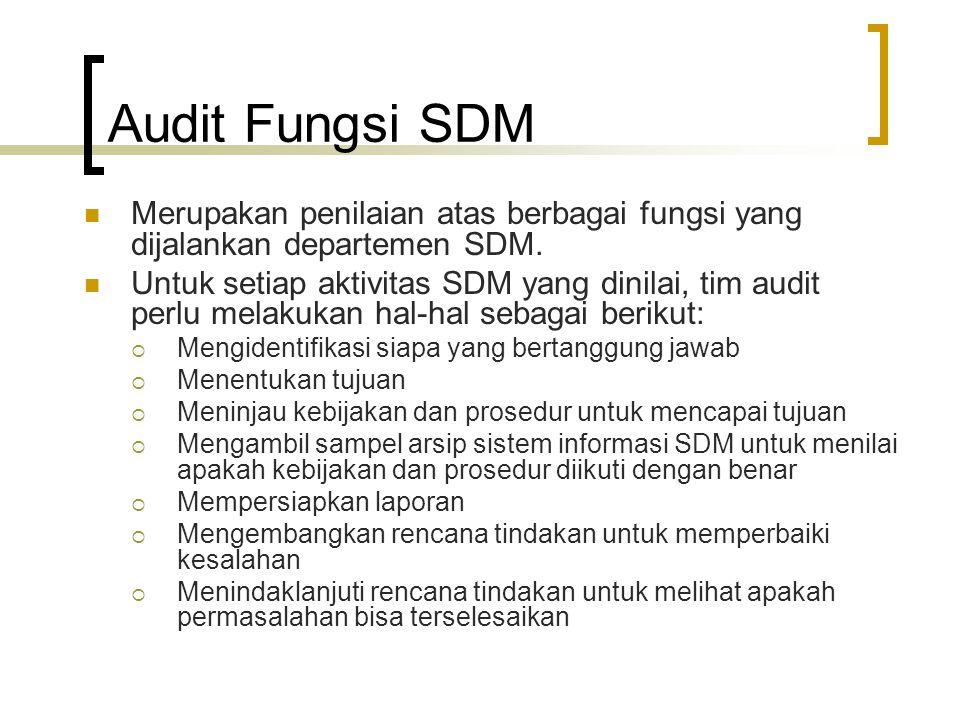 Berbagai Area dalam Audit Fungsi SDM Sistem Informasi SDM  Informasi Analisis Jabatan Standard jabatan Deskripsi jabatan Spesifikasi jabatan  Rencana SDM Estimasi permintaan dan penawaran Inventori keahlian Bagan dan ringkasan penggantian  Administrasi Kompensasi Tingkat gaji, upah, dan insentif Paket tunjangan Layanan perusahaan bagi karyawan