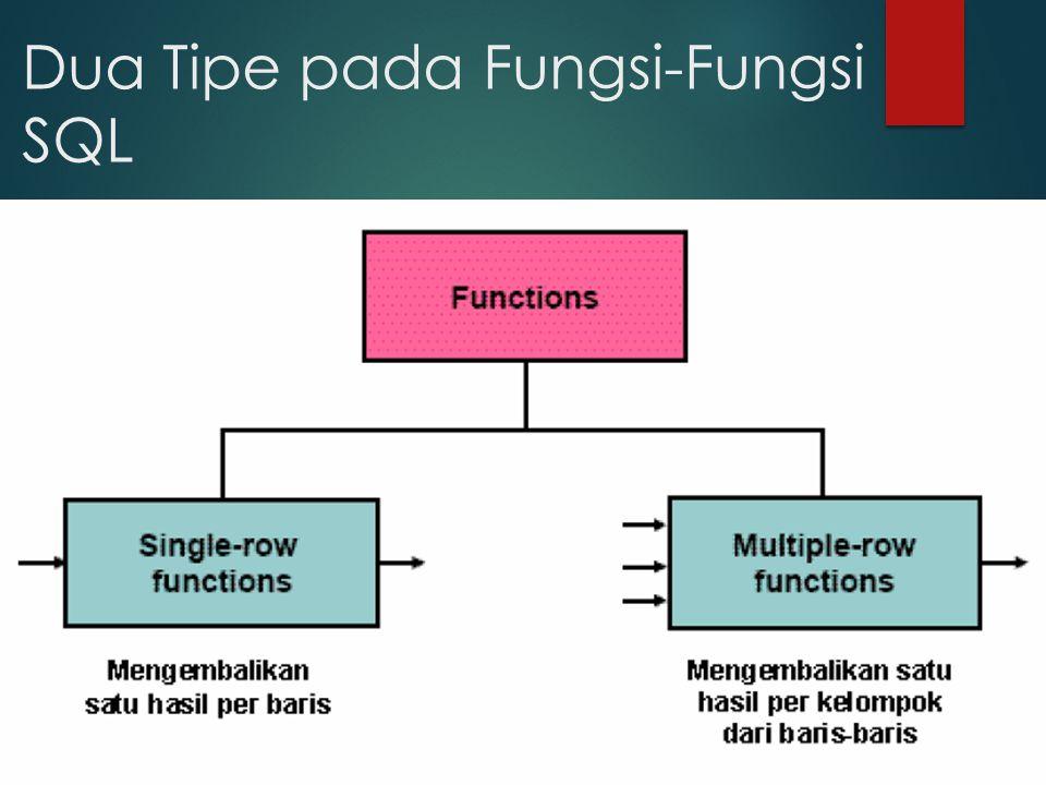 Dua Tipe pada Fungsi-Fungsi SQL