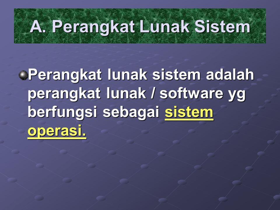 A. Perangkat Lunak Sistem Perangkat lunak sistem adalah perangkat lunak / software yg berfungsi sebagai sistem operasi.