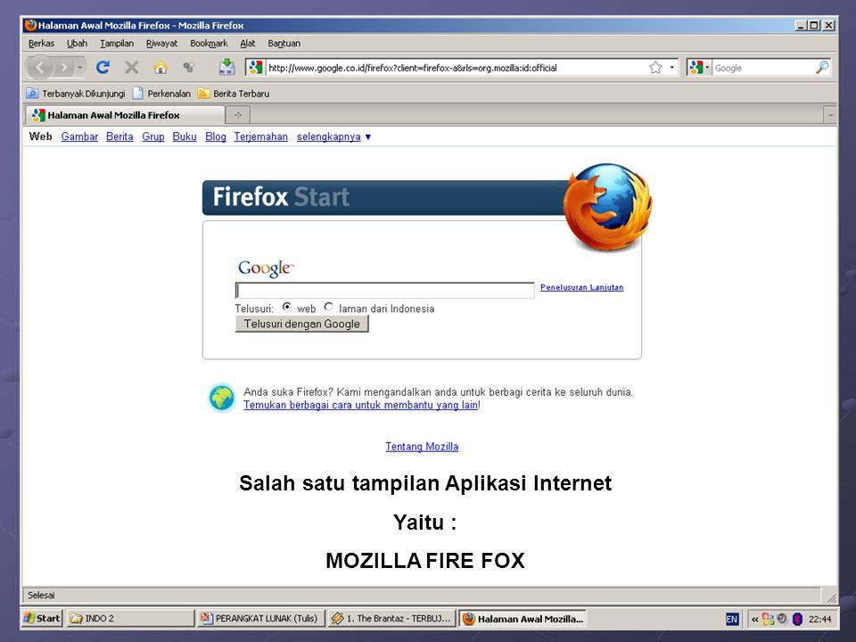 Salah satu tampilan Aplikasi Internet Yaitu : MOZILLA FIRE FOX