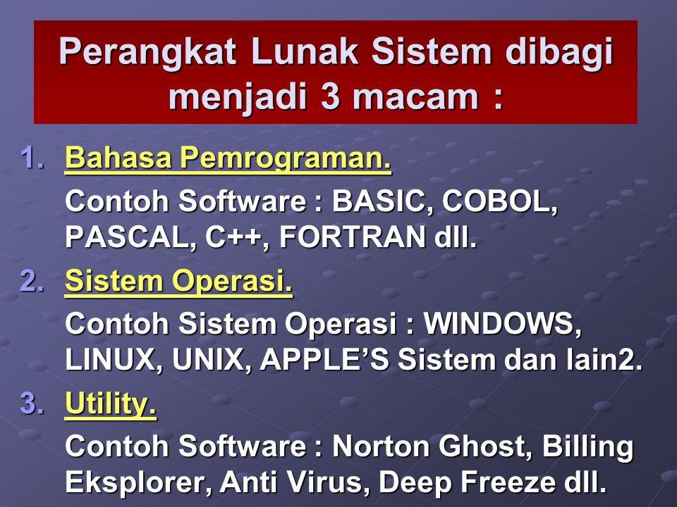 Perangkat Lunak Sistem dibagi menjadi 3 macam : 1.B ahasa Pemrograman. Contoh Software : BASIC, COBOL, PASCAL, C++, FORTRAN dll. 2.S istem Operasi. Co