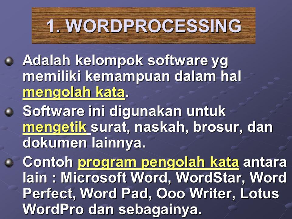 Adalah kelompok software yg memiliki kemampuan dalam hal mengolah kata. Software ini digunakan untuk mengetik surat, naskah, brosur, dan dokumen lainn