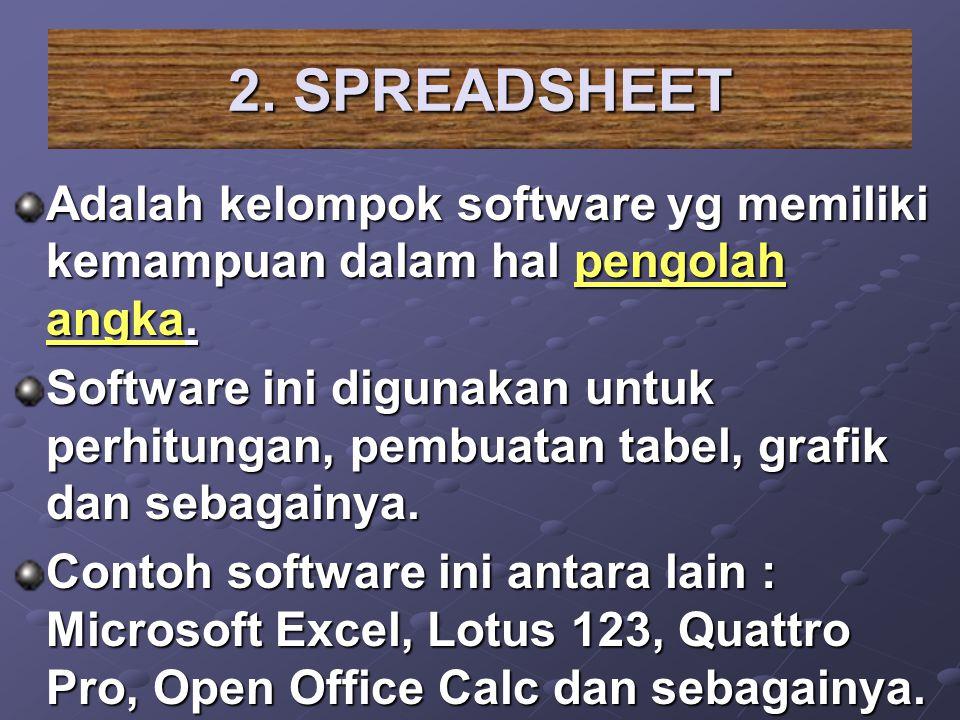 2. SPREADSHEET Adalah kelompok software yg memiliki kemampuan dalam hal pengolah angka. Software ini digunakan untuk perhitungan, pembuatan tabel, gra