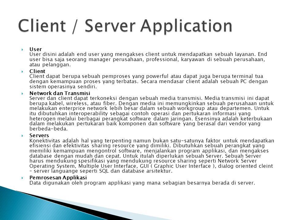  User User disini adalah end user yang mengakses client untuk mendapatkan sebuah layanan. End user bisa saja seorang manager perusahaan, professional