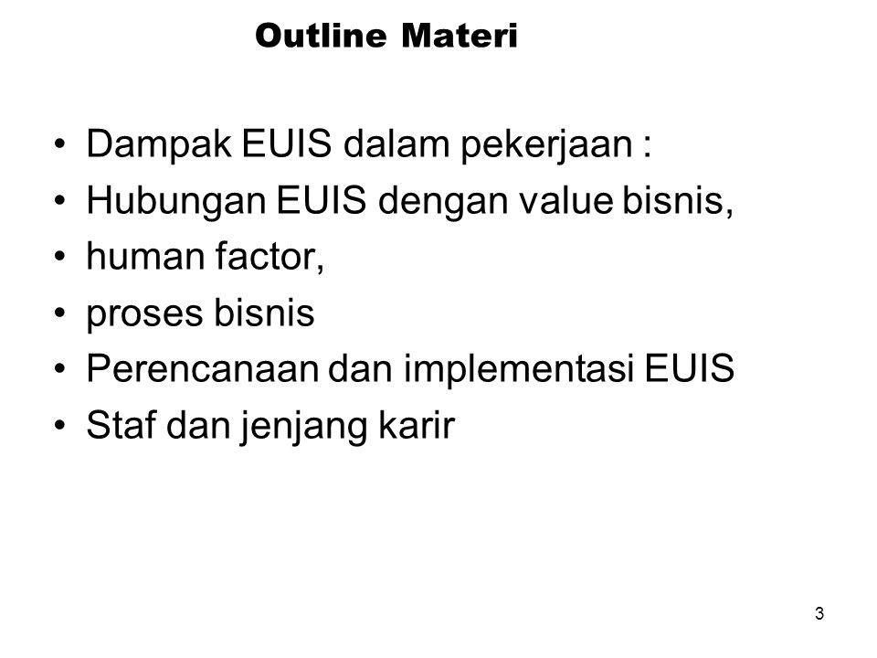 3 Outline Materi Dampak EUIS dalam pekerjaan : Hubungan EUIS dengan value bisnis, human factor, proses bisnis Perencanaan dan implementasi EUIS Staf dan jenjang karir