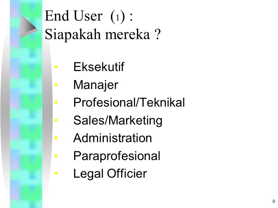 8 Latar Belakang ( 3 ) Kenyataannya, Developer membangun aplikasi hanya jangka waktu tertentu (sebagai Proyek) Sedangkan aplikasi digunakan oleh user sepanjang waktu Requirement meningkat dan teknologi cepat berkembang Mestinya, peran end-user lebih dominan dalam mengelola aplikasi