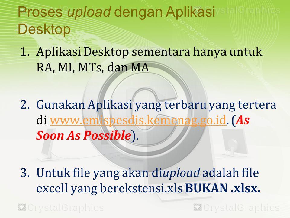 1.Aplikasi Desktop sementara hanya untuk RA, MI, MTs, dan MA 2.Gunakan Aplikasi yang terbaru yang tertera di www.emispesdis.kemenag.go.id.