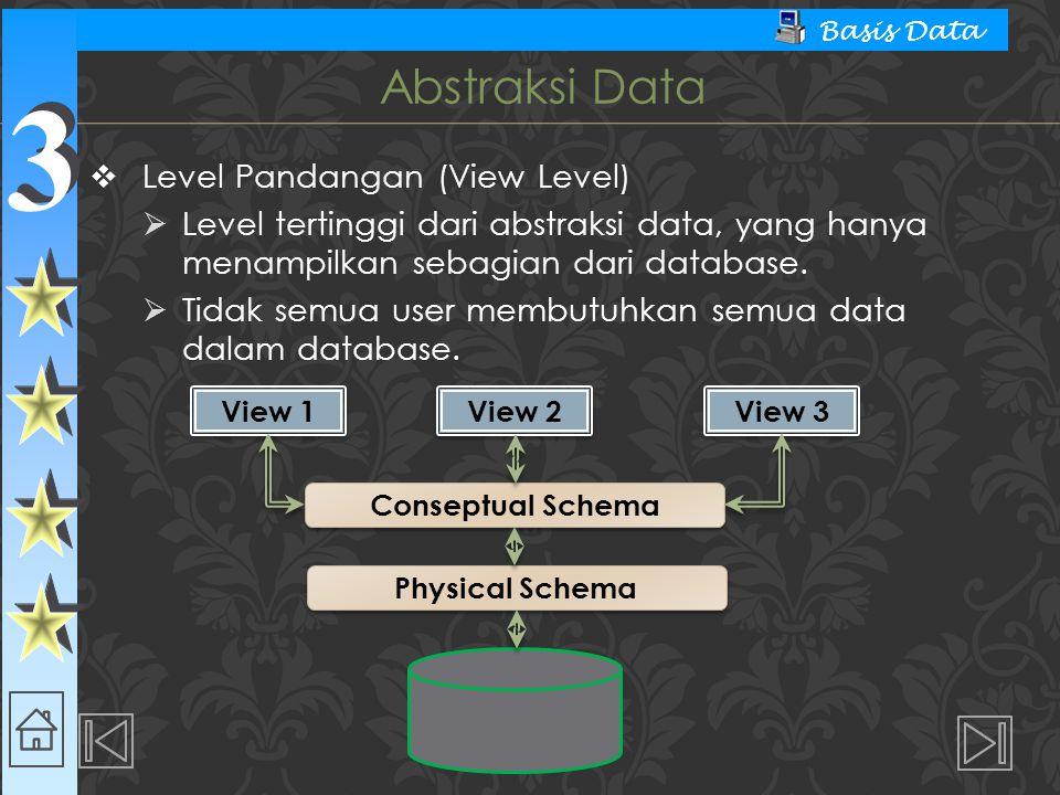 3 3 Basis Data  Level Pandangan (View Level)  Level tertinggi dari abstraksi data, yang hanya menampilkan sebagian dari database.