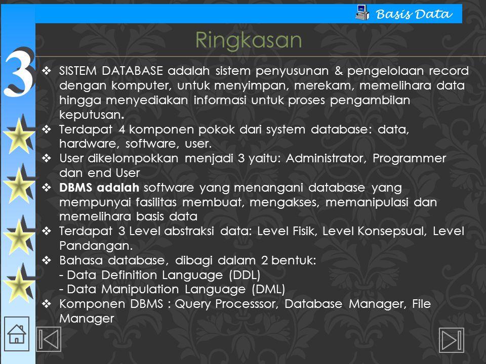 3 3 Basis Data  SISTEM DATABASE adalah sistem penyusunan & pengelolaan record dengan komputer, untuk menyimpan, merekam, memelihara data hingga menyediakan informasi untuk proses pengambilan keputusan.