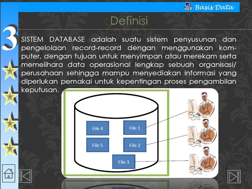 3 3 Basis Data SISTEM DATABASE adalah suatu sistem penyusunan dan pengelolaan record-record dengan menggunakan kom- puter, dengan tujuan untuk menyimpan atau merekam serta memelihara data operasional lengkap sebuah organisasi/ perusahaan sehingga mampu menyediakan informasi yang diperlukan pemakai untuk kepentingan proses pengambilan keputusan.