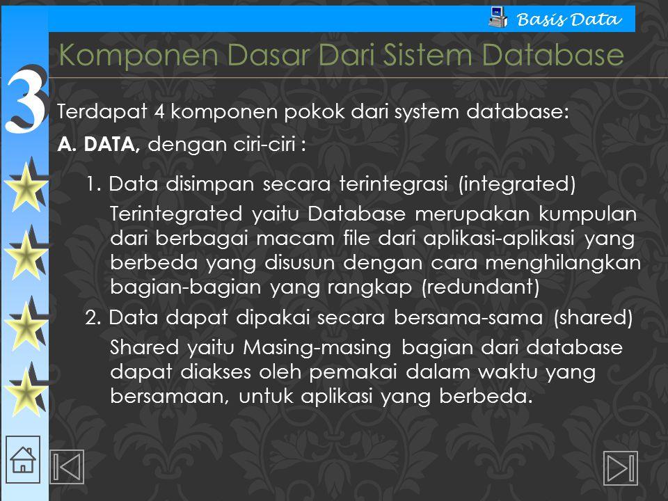 3 3 Basis Data Terdiri dari semua peralatan perangkat keras komputer yang digunakan untuk pengelolaan sistem database berupa : 1.