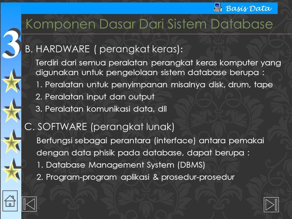 3 3 Basis Data Terbagi menjadi 3 klasifikasi : 1.