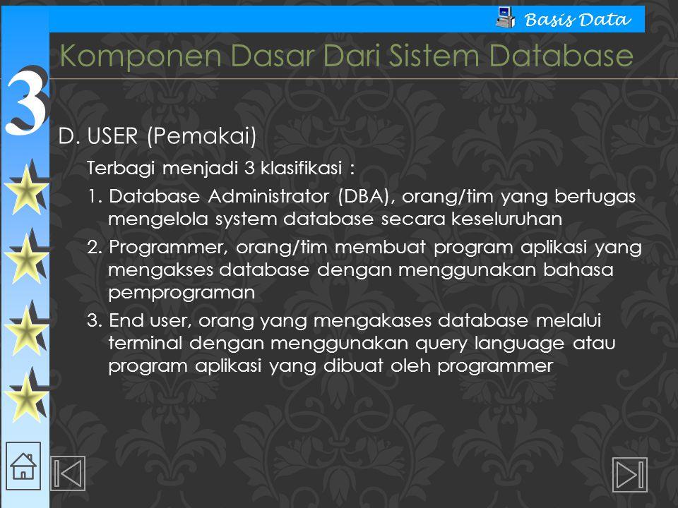 3 3 Basis Data  Data Definition Language (DDL) – Digunakan dalam membuat tabel baru, indeks, mengubah tabel, menetukan struktur tabel, dsb.