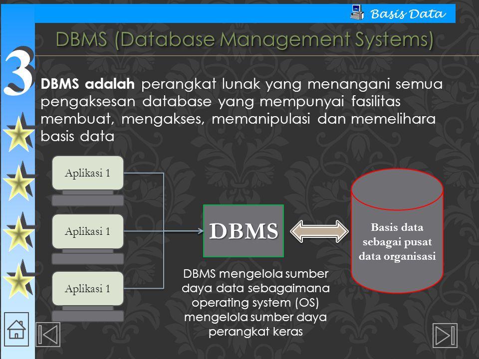 3 3 Basis Data  Data Manipulation Language (DML)  Digunakan dalam memanipulasi dan pengambilan data pada database.