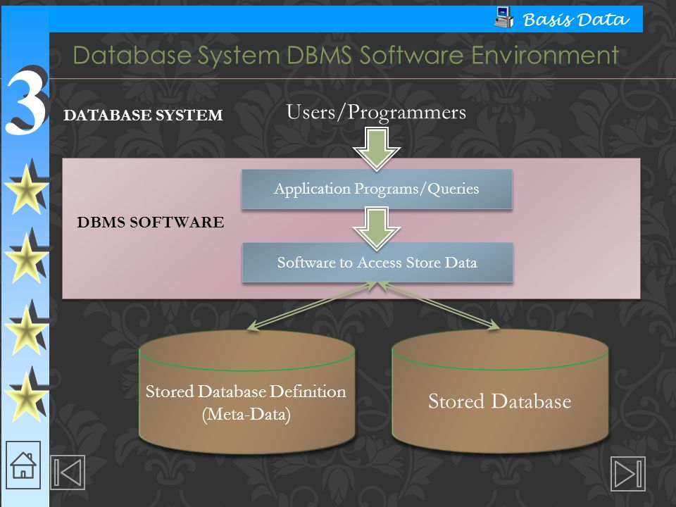 3 3 Basis Data Database System DBMS Software Environment Users/Programmers DATABASE SYSTEM Application Programs/Queries Software to Access Store Data