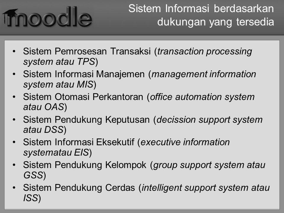 Sistem Informasi berdasarkan dukungan yang tersedia Sistem Pemrosesan Transaksi (transaction processing system atau TPS) Sistem Informasi Manajemen (m