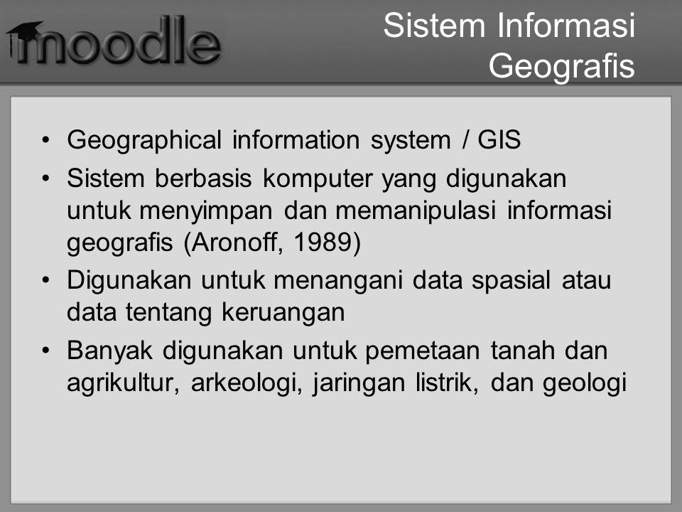 Sistem Informasi Geografis Geographical information system / GIS Sistem berbasis komputer yang digunakan untuk menyimpan dan memanipulasi informasi ge