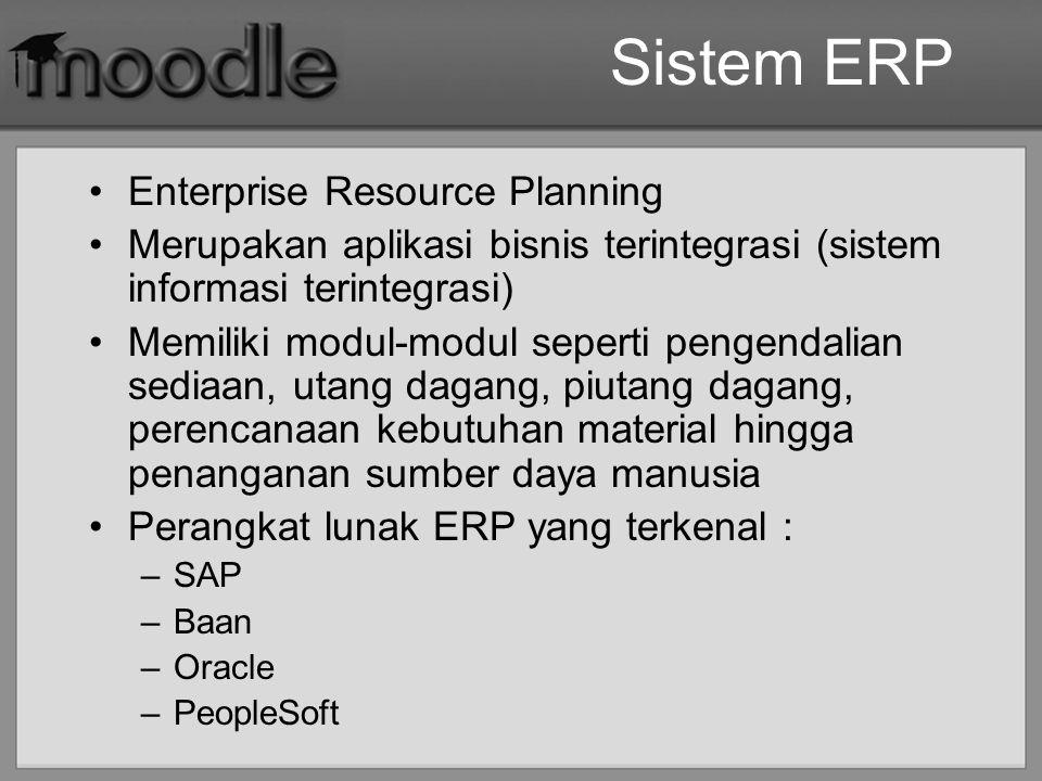 Sistem ERP Enterprise Resource Planning Merupakan aplikasi bisnis terintegrasi (sistem informasi terintegrasi) Memiliki modul-modul seperti pengendali