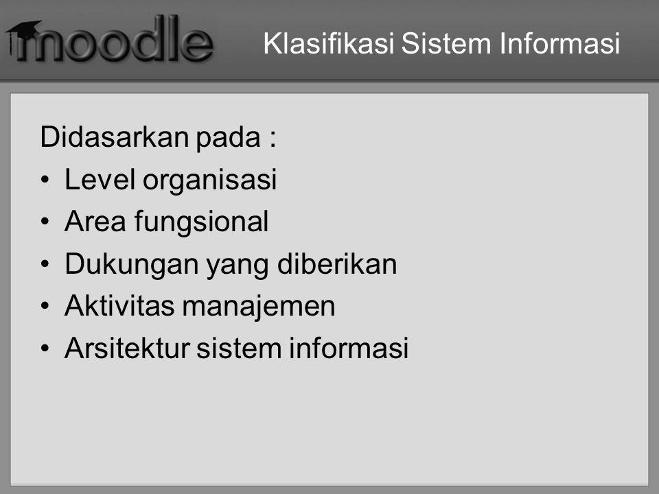 Sistem Informasi menurut Level Organisasi Sistem informasi departemen –Contoh : Sistem Informasi SDM (HRIS) Sistem informasi perusahaan (enterprise information system) –Contoh : sistem informasi perguruan tinggi Sistem informasi antarorganisasi –Contoh : eCommerce