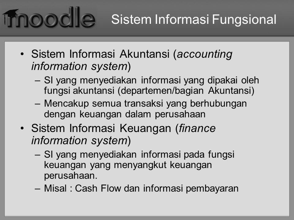 Sistem Informasi Fungsional Sistem Informasi Akuntansi (accounting information system) –SI yang menyediakan informasi yang dipakai oleh fungsi akuntan
