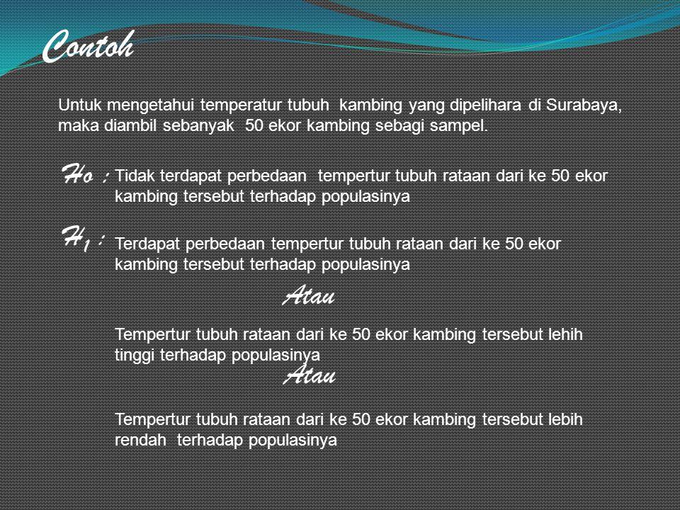 Contoh Untuk mengetahui temperatur tubuh kambing yang dipelihara di Surabaya, maka diambil sebanyak 50 ekor kambing sebagi sampel. Ho : Tidak terdapat